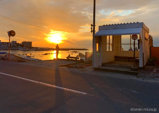 真名瀬バス停からの夕日
