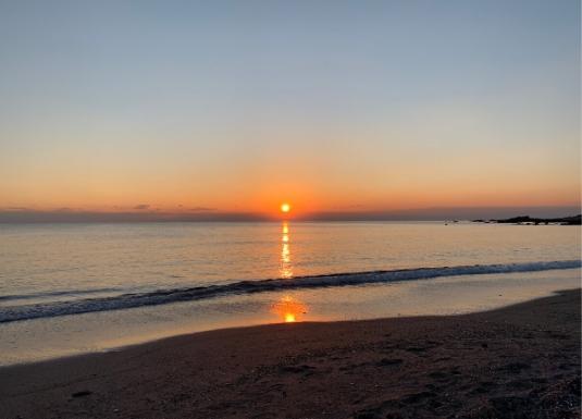 和田長浜海岸の夕日