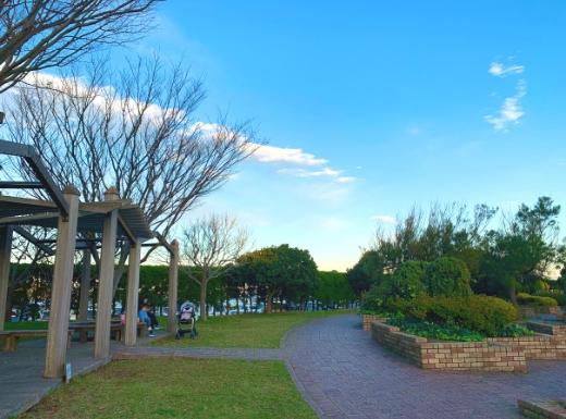 うみかぜ公園円形広場ベンチ
