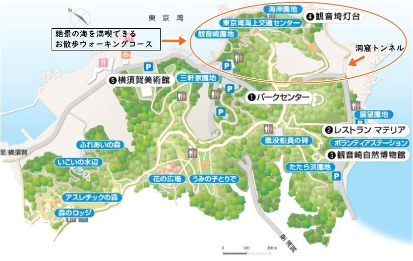 観音崎公園海岸お散歩コースマップ