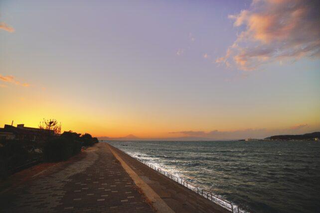 長井海岸遊歩道からの夕焼け
