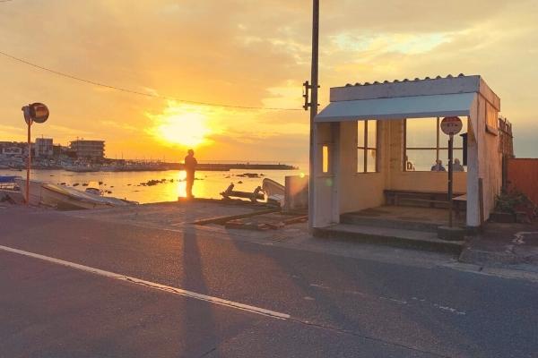真名瀬海岸の夕日