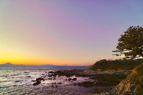 荒崎海岸の夕日