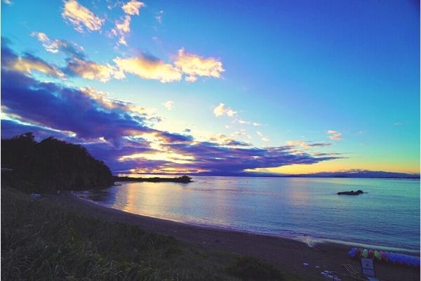 長者ヶ崎海岸の夕日